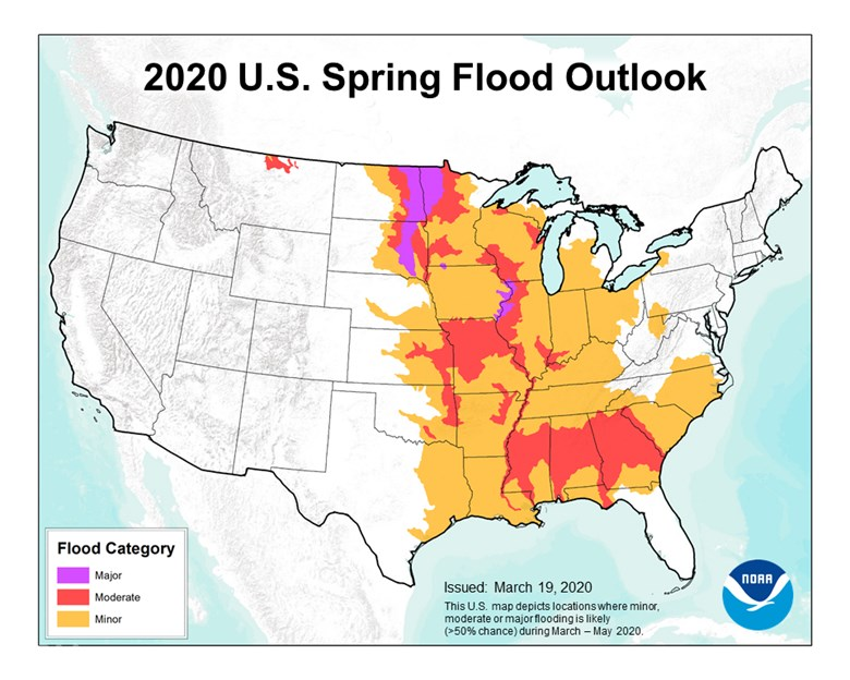 United States map depicting the 2020 U.S. Spring Flood Outlook.