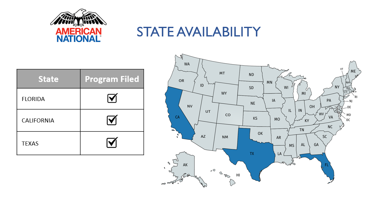 "American National logo with United States Map showing state availability and graph listing Florida, California and Texas as being, ""Program Filed."""