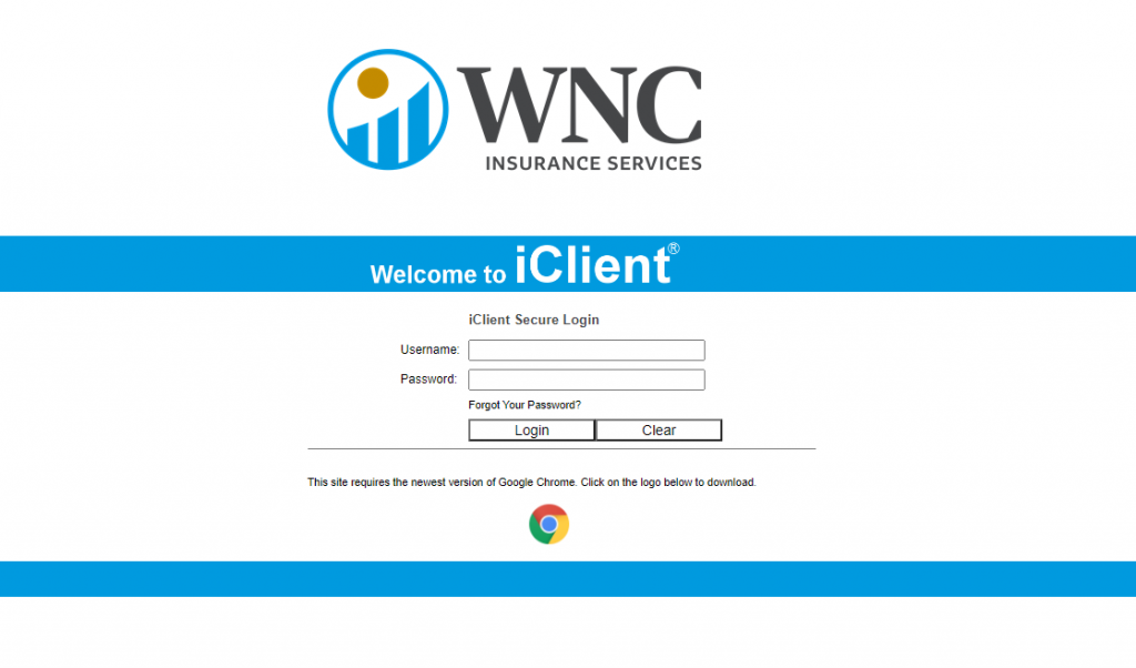 WNC Insurance Services iClient secure login page.