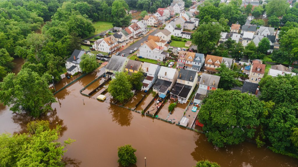 Bird's eye view of a flooded residential area.